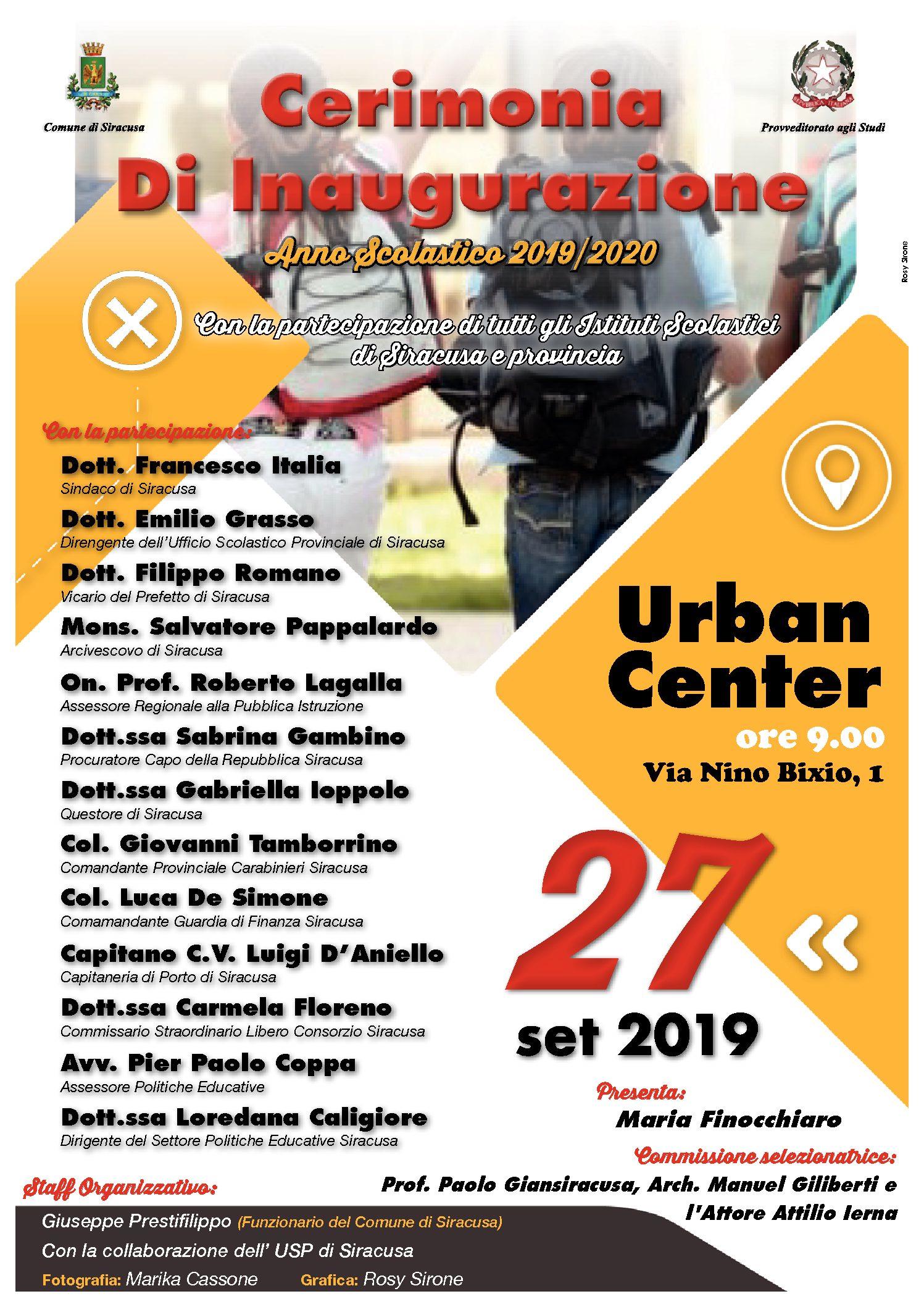 Inaugurazione nuovo anno scolastico Cerimonia all'Urban Center Venerdì 27 settembre, ore 9.30